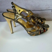 Nine West Womens Glitter Gold & Black High Heel Sandals Size 9N Narrow 9  - $24.74
