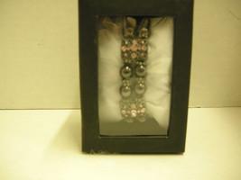 Ladies Magnetic Therapy Bracelet, Pink Rhinestones W/Black Beads, Brand New - $9.99