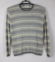 Calvin Klein extra fino merino wool men's sweater gray striped size L - $18.99