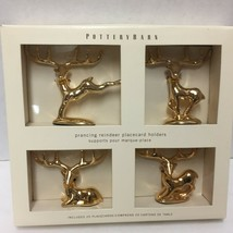 Pottery Barn Prancing Reindeer Placecard Holder Set 4 Gold Tone 20 Place... - $24.74
