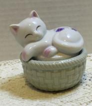 Vintage Action Brand Cat on Basket Trinket Box Purple Violet Design Ring... - $8.50