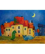 Fantasy Cityscape Original Oil Painting, Abstract Colorful Animals Art, ... - $110.00