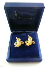 BIG Vintage 1960s Goldtone CAPRICORN Talismans Zallo CUFFLINKS in Orig Box - $45.58