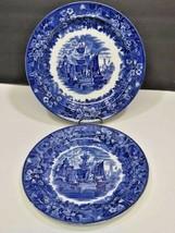 """Two Wedgwood Ferrara Plates Blue 9.25"""" & 10"""" - $33.66"""