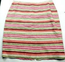 Talbots Womens A Line Skirt Size 12 White Pink Green Striped Lined Back Zip - $24.75