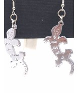 Alligator or Salamander Silver Tone Figural Fish Hook Earrings Vintage - $15.89
