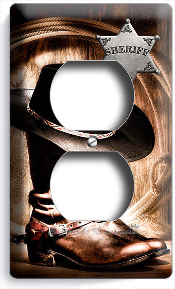 COUNTRY COWBOY BOOTS HAT LASSO SHERIFF STAR OUTLET WALL PLATE ROOM HOME HD DECOR