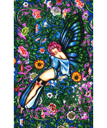 butterfly fairy pin up girl art print, pinup girl painting, flower Garde... - $8.99