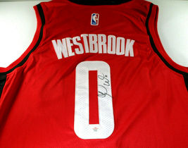RUSSELL WESTBROOK / AUTOGRAPHED HOUSTON ROCKETS RED PRO STYLE JERSEY / COA image 3