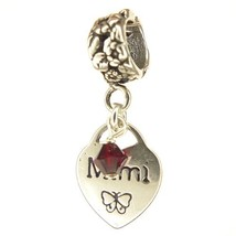 Mimi Heart Ruby Crystal July Birthstone Small Sterling Silver Dangle Mimi Charm - $25.64
