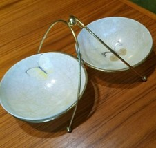 Vintage Fiberglass Butterfly Gold Threads Double Bowl w/ Stand Mid Centu... - $19.34