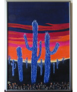 Blue Cactus Valley Original Acrylic canvas Board with Pewter Metal frame... - $56.00