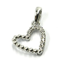 SOLID 18K WHITE GOLD PENDANT MINI HEART WITH CUBIC ZIRCONIA, 10mm, 0.4 inches image 1