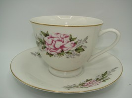 AUTHENTIC  Bone China Teacup & Saucer Pink Floral w/Gold Trim - $11.97