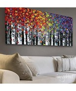 Wall art Abstract art PRINT on canvas birch trees landscape by susanna shap - $49.00+
