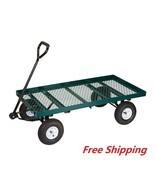 Steel Garden Wagon Mesh Deck Open Sided Heavy Duty For Hauling Tool Util... - £104.54 GBP