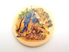 Vintage Big Plastic Cream Oriental Design Geisha Decoupage Funky Round Pendant - $7.95