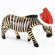 Hand Carved & Painted Jacaranda Wood Santa Hat Zebra  Safari Christmas Figurine