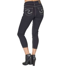 WOMENS SILVER JEANS High Waisted Rise Dark Wash Suki Cropped Stretch Jea... - $49.97