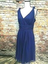 Ann Taylor Sz 10 Royal Blue Silk Chiffon Sleeveless Shoulder Knots Dress... - $34.64