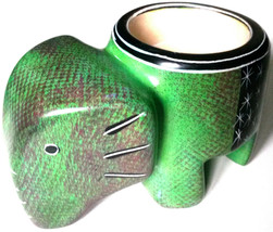Elephant Tea Light - Soapstone Hand Carved and Hand Painted - Green Brow... - $18.99