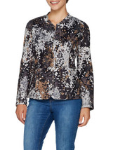 ISAAC MIZRAHI LIVE! Size XL Floral Branch Print Quilted Knit Jacket BLACK - $88.11