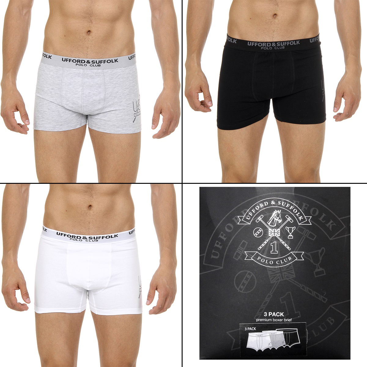 Primary image for Ufford & Suffolk Polo Club Mens Three pack boxer trunk US300