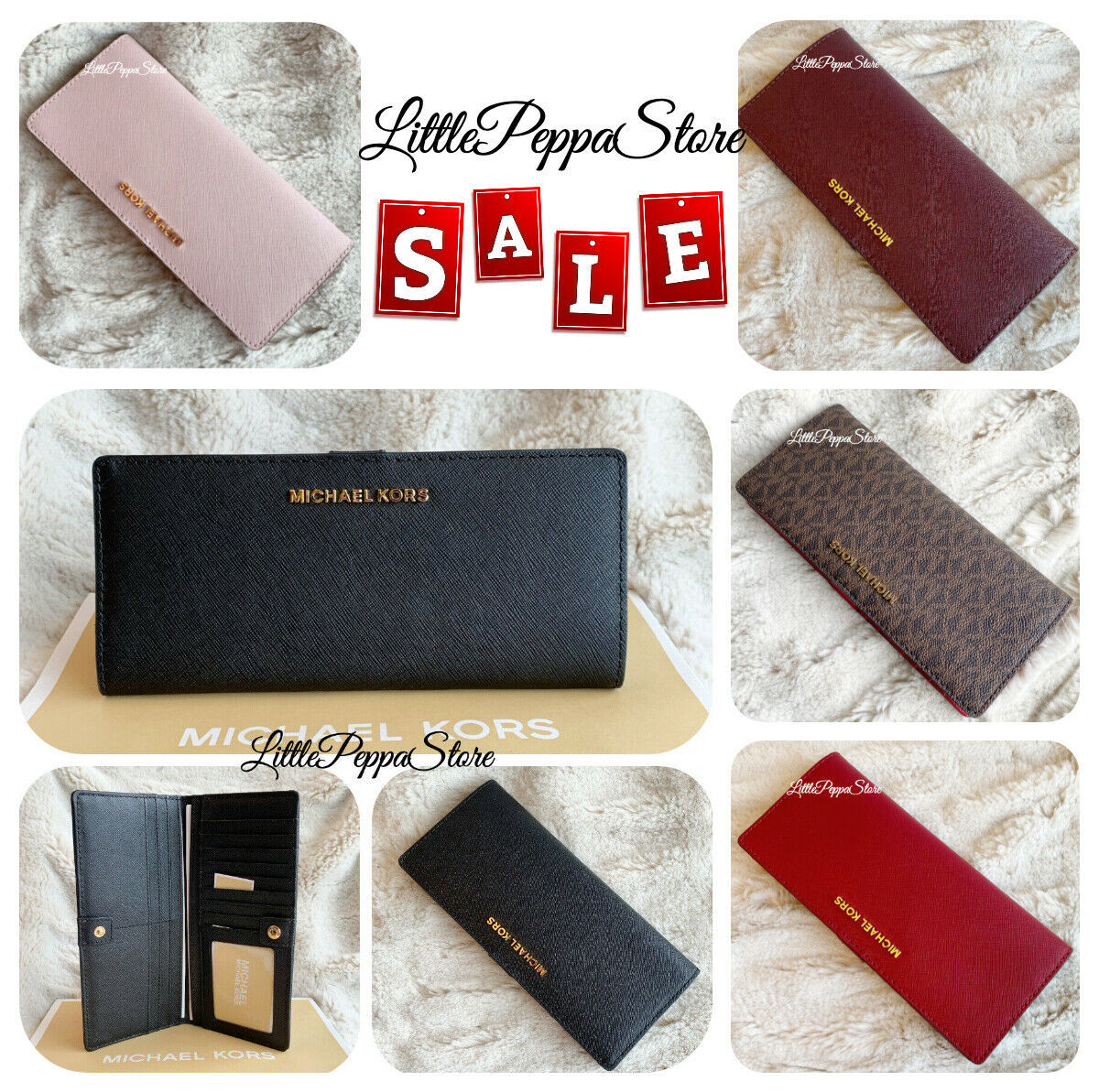 Primary image for MICHAEL KORS JET SET TRAVEL FLAT SLIM BIFOLD WALLET IN VARIOUS