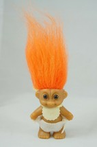 "Vintage Russ MINI TROLL DOLL 2""  Baby Doll Brown Eyes Orange Hair Bib Di... - $12.13"