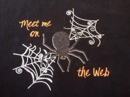 Meet Me on the Web Halloween Spider Black Cotton Blend Womens Sweatshirt... - $17.49