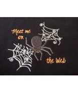 "Meet Me on the Web Halloween Spider Black Cotton Blend Womens Sweatshirt L 45"" - $17.49"