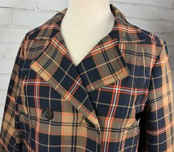 Tommy Hilfiger Jacket Plaid Lightweight Pea Coat Trench Fall Plaid Cotton Size M image 2