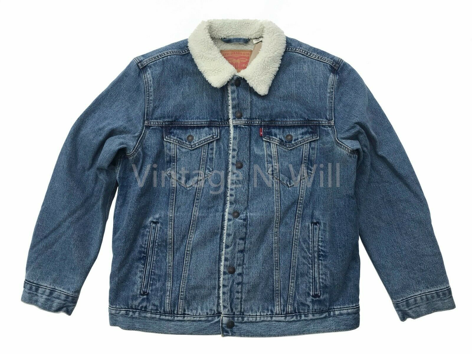 Primary image for Levis Red Tab Mens Blue Youngstown Classic Fit Sherpa Denim Jean Trucker Jacket