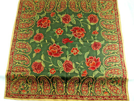 "Head Neck Scarf Paisley Floral Olive Green Burgundy Silk Feel Like 36"" S... - $14.80"