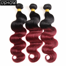 Peruvian Body Wave Hair T1B/99J Ombre Hair 3 Bundles 100% Human Hair Ext... - $9.99+