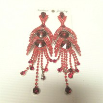 Fashion Jewelry Red Dangle Clip on Earrings Red Hat Events Prom Opera - $16.83