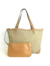 Authentic GUCCI GG Logo Canvas Tote Bag + Removable Leather Pouch 247209... - $200.00