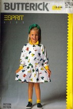 Vtg 1987 Butterick #5789 ESPRIT Children's Pullover Dress, Sz 2-3-4 - $9.99
