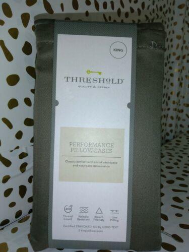 King Threshold 400 TC Performance Pillowcase Set River Birch  sealed new