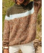 Long Sleeve High Collar Color Block Casual Sweaters - $32.99