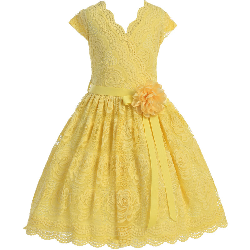 Yellow Cap Sleeve V Neck Floral Lace with Corsage Flower Belt Girl Dress