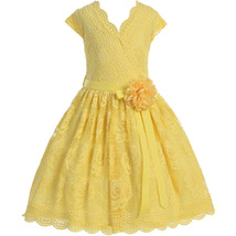 Yellow Cap Sleeve V Neck Floral Lace with Corsage Flower Belt Girl Dress - $29.99+