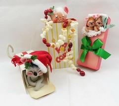 3 Vintage Annalee Dolls Christmas Gift Box 1990 1996 & Popcorn 1997 Mouse Mice - $40.00