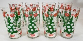 Hazel Ware HOLIDAY Glasses Set of 8 in Original Box Tree, Wreath, Poinse... - $29.99