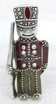 Vintage Silver Tone Enamel Clear AB Rhinestone Toy Soldier Pin Brooch - $11.78