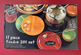 NEW 17 pc TABLETOPS Unlimited Kitchen Prep 201 Multi-Color Striped Fondu... - $98.99