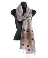 Dancing Winds Silk Blend Long Copper Sequin Embellished Scarf / Shawl - $20.90
