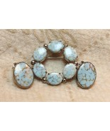 Vintage Faux Turquoise Art Glass Cabochon Circle Brooch Pin Earrings Dem... - $19.79