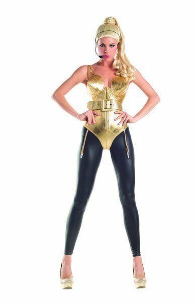Party König 80er Jahre Pop Diva Madonna Gold Korsett Kegel Damen