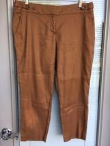 Ann Taylor Loft Marisa Capri Pants Size 8P Linen Blend Stretch Brown Fla... - $24.74